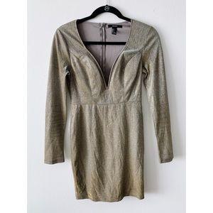 Forever 21 Metallic Body Con Mini Dress